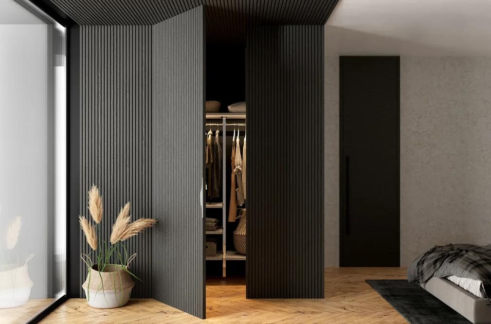 Скрытая дверь под декоративные рейки
